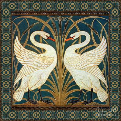 Walter Crane Painting - Two Swans by Walter Crane