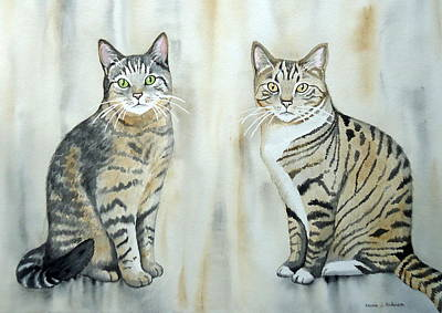 Painting - Two Tabby Cats by Laurie Anderson