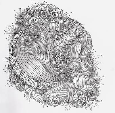Drawing - Two Tangled Hearts by Quwatha Valentine