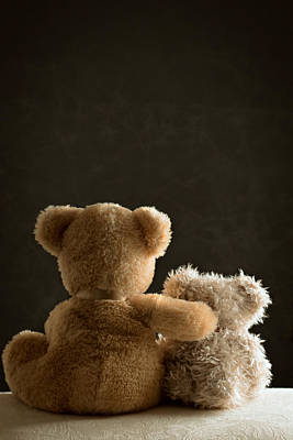 Sitting Bear Photograph - Two Teddy Bears by Amanda Elwell