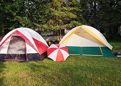 Two Tents And Umbrella Art Print by Marek Poplawski