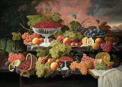 With Fruit Painting - Two-tiered Still Life With Fruit And Sunset Landscape by Severin Roesen