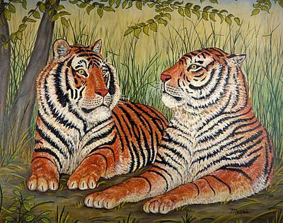 Cat Painting - Two Tigers by Linda Mears