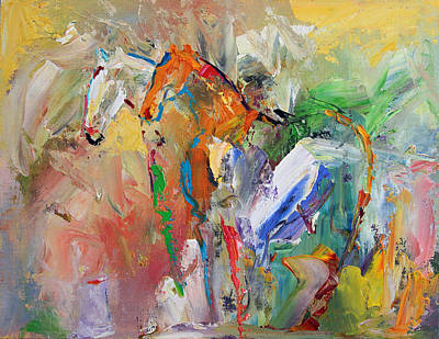 Painting - Two Together Horse 29 2014 by Laurie Pace