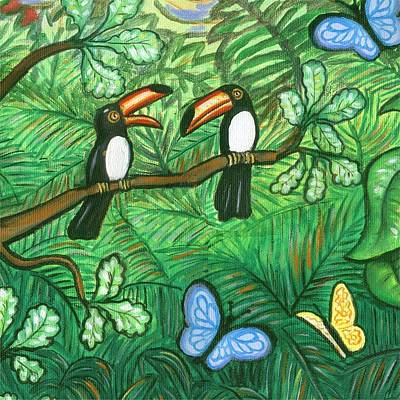 Wildlife Painting - Two Toucans by Linda Mears