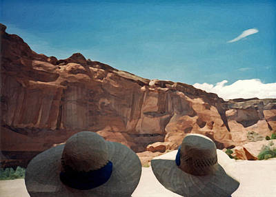 Photograph - Two Tourists On The Home Tour. Canyon De Chelly 1993 by Connie Fox