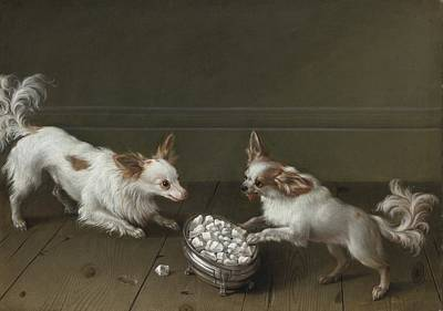 Painting - Two Toy Spaniels At A Sugar Bowl by Celestial Images
