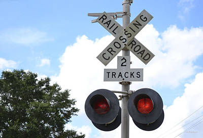 Photograph - Two Tracks Railroad Crossing by rd Erickson