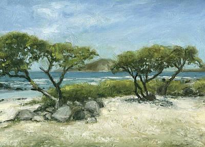 Haleiwa Painting - Two Trees At Makapu'u Beach by Stacy Vosberg