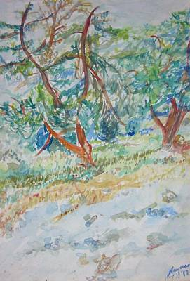 Painting - Two Trees In Talpiot Jerusalem by Esther Newman-Cohen