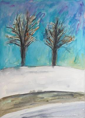 Painting - Two Trees In Winter's Silence by Esther Newman-Cohen