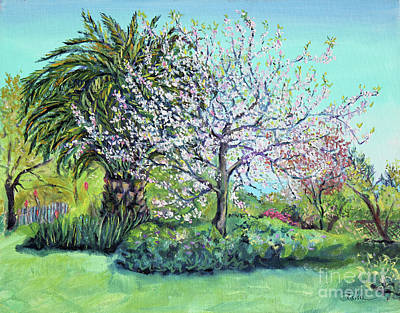 Art Print featuring the painting Two Trees Like Springtime Lovers by Asha Carolyn Young