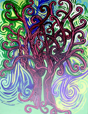 Lyrical Painting - Two Trees Twining by Genevieve Esson
