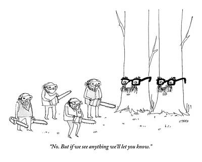 Two Trees With Groucho Marx Masks Speak To Three Art Print
