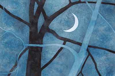 Painting - Two Trees With Waxing Crescent by Robin Street-Morris