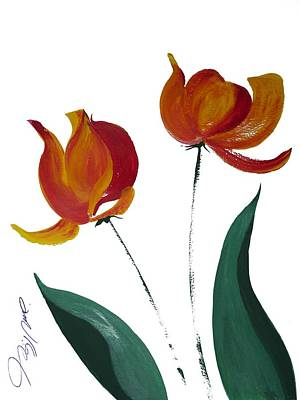 Seattle Drawing - Two Tulips by Jalal Gilani