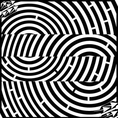 Illusory Drawing - Two Tunnel Illusion Maze  by Yonatan Frimer Maze Artist