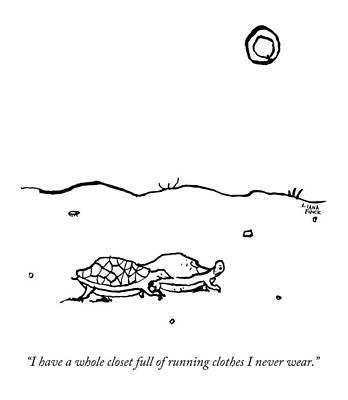 Turtle Drawing - Two Turtles Crawling Across A Barren Landscape by Liana Finck