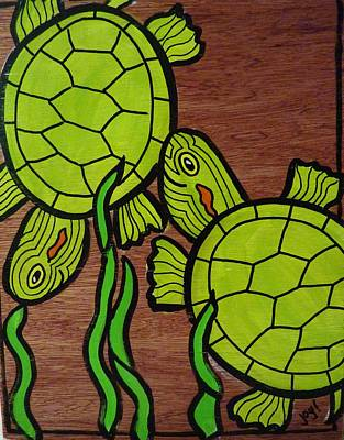 Slider Painting - Two Turtles On Wood by Joy Green
