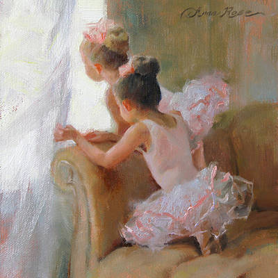 Pink Roses Painting - Two Tutus by Anna Rose Bain
