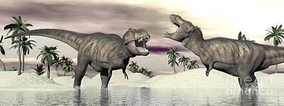 Anger Digital Art - Two Tyrannosaurus Rex Dinosaurs by Elena Duvernay