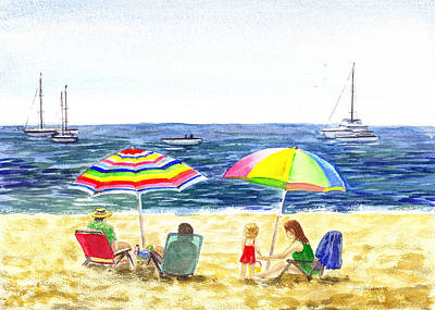 Two Umbrellas On The Beach California  Art Print