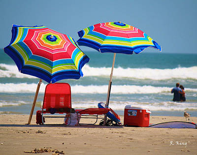 Photograph - Two Umbrellas On The Beach In Texas by Roena King