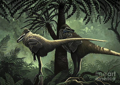 Two Variraptor Mechinorum Rest Art Print