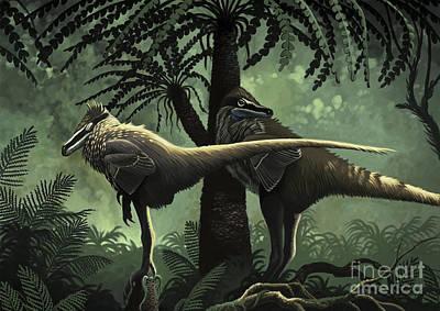 Two Tailed Digital Art - Two Variraptor Mechinorum Rest by Roman Garcia Mora