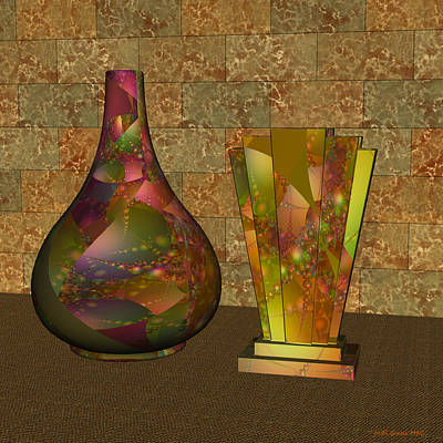 Digital Art - Two Vases by Judi Suni Hall