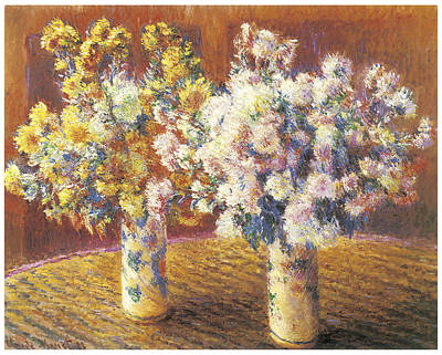 Mums Painting - Two Vases Of Chrysanthemums by Claude Monet