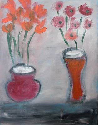 Painting - Two Vases With Flowers by Mary Feeney
