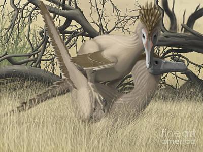 Velociraptor Digital Art - Two Velociraptors During Mating Season by Michele Dessi