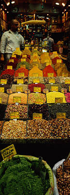 Food Stores Photograph - Two Vendors Standing In A Spice Store by Panoramic Images