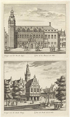 City Hall Drawing - Two Views In Alkmaar With The City Hall And De Waag by Leonard Schenk And Abraham Rademaker