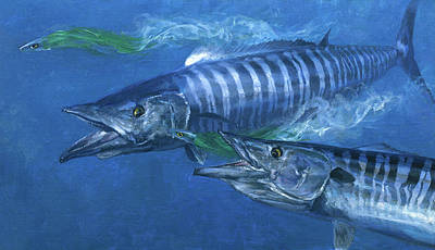 Two Wahoo, 1986 Two Of The Fastest Fish Art Print by Stanley Meltzoff / Silverfish Press