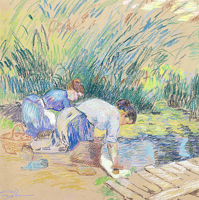 French Laundry Pastel - Two Washerwomen by Jean Baptiste Armand Guillaumin