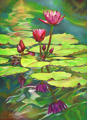 Painting - Two Water Lilies And Their Reflections by Nancy Tilles