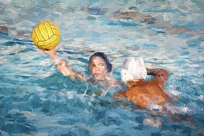 Athletic Digital Art - Two Water Polo Players by Vivian Frerichs