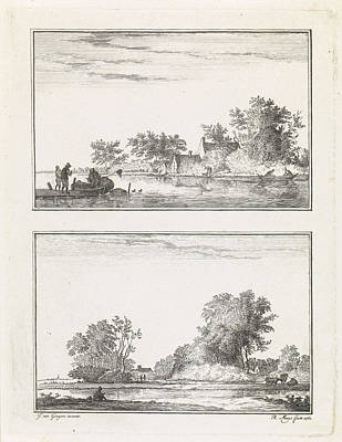 Waterscape Drawing - Two Waterscapes, Robbert Muys by Quint Lox