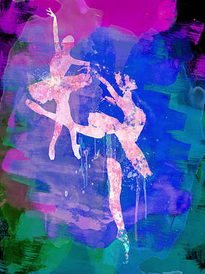 Dancer Mixed Media - Two White Ballerinas Watercolor by Naxart Studio