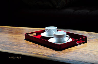 Photograph - Two White Cups On A Red Tray by Paulette B Wright