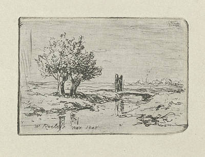Willow Drawing - Two Willows By The Water, Willem Roelofs I 1868 by Willem Roelofs I  And Willem Roelofs I