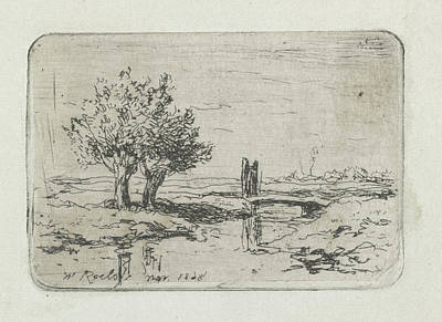 Willow Drawing - Two Willows On The Water, Willem Roelofs by Willem Roelofs (i)