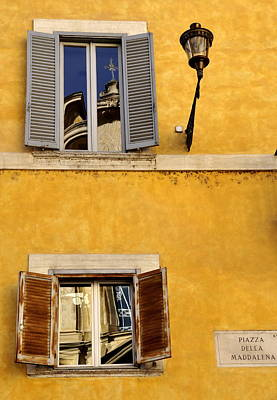 Church Fixture Photograph - Two Windows In Rome by Caroline Stella