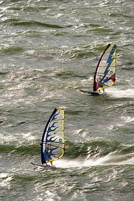 Two Windsurfers Catch High Winds Art Print