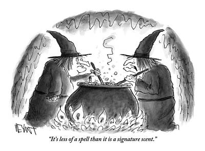 Drawing - Two Witches Stir The Liquid In Their Cauldron by Christopher Weyant