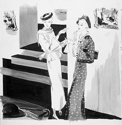Gloves Digital Art - Two Women Applying Their Makeup by Jean Pages