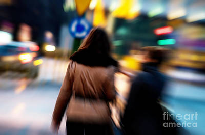 Shopper Photograph - Two Women At City Centre At Night by Michal Bednarek