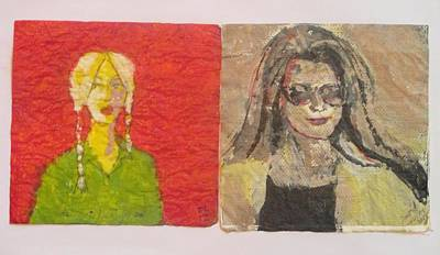 Juxtapose Painting - Two Women - Double Napkin Art by David Lovins